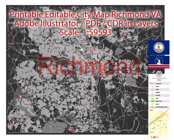 Printable PDF VectorMap Richmond Virginia, exact detailed City Plan BW, Scale 1:59593, editable Layered Adobe PDF Street Map, 37MbZIP
