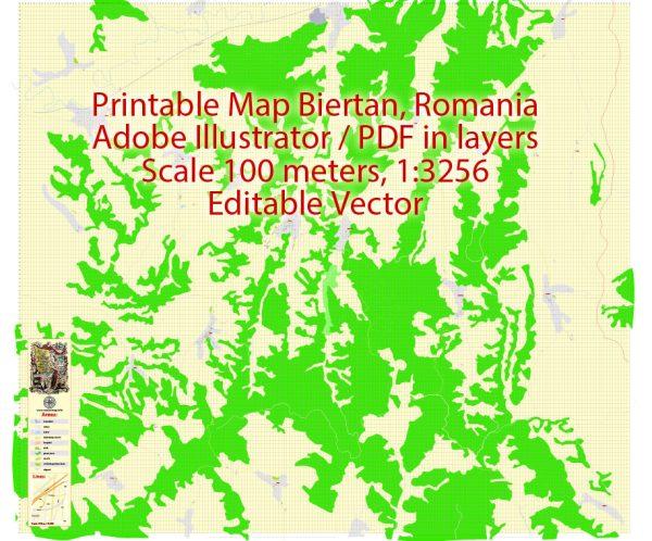 Printable VectorMap Biertan Romania, exact detailed City Plan, Scale 1:3256, editable Layered Adobe Illustrator Street Map, 6MbZIP