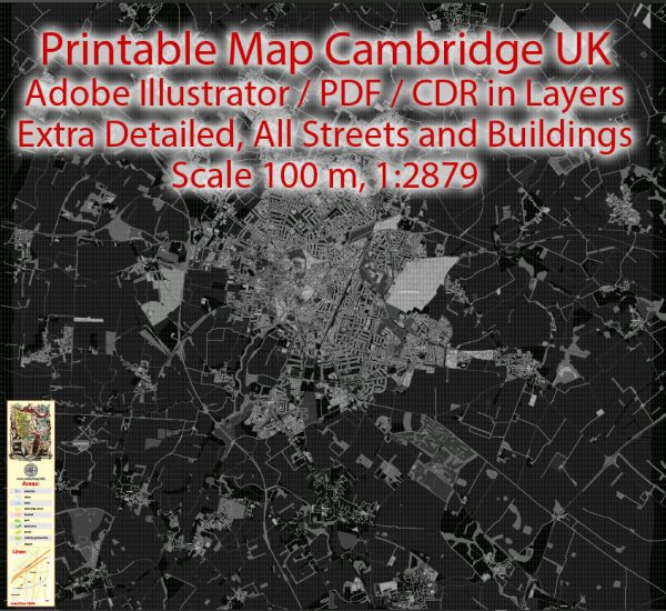 Printable VectorMap Cambridge UK, exact detailed City Plan all Buildings, Scale 1:2879, editable Layered Adobe Illustrator BW Street Map