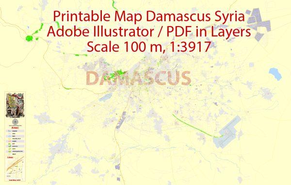 City Map Damascus Vector Urban Plan Adobe Illustrator Editable Street Map