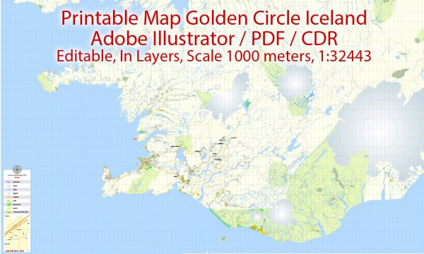 Printable VectorMap Golden Cirkle Iceland, base map 100 meters Scale 1:32443, editable Layered Adobe Illustrator Road Map
