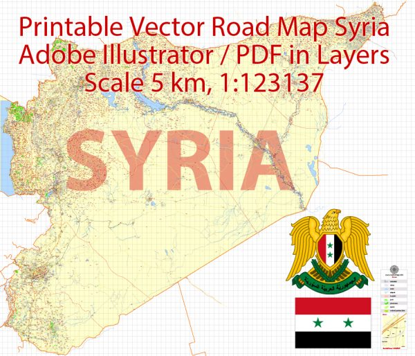 Printable Vector Map Syria, 5 km scale Road Map editable Country Plan, Adobe Illustrator