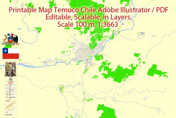 Map Temuco, Chile, exact vector City Plan full editable, Adobe Illustrator Street Map Printable