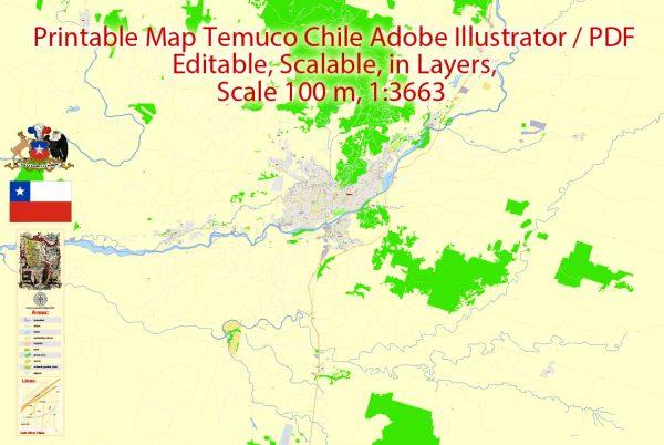 Map Temuco, Chile,exact vectorCity Plan full editable, Adobe Illustrator Street Map Printable