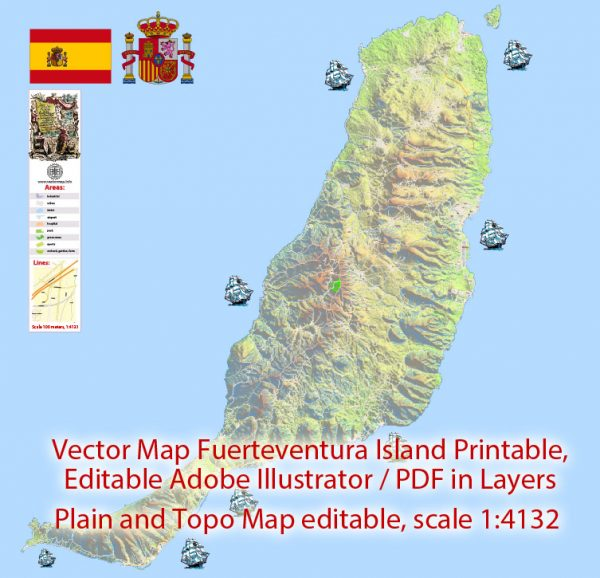 Fuerteventura Map Island Canary Spain, exact detailed City Plan Principal Buildings, Topo + Plain Map scale 1:4131, editable Layered Adobe Illustrator Street Map