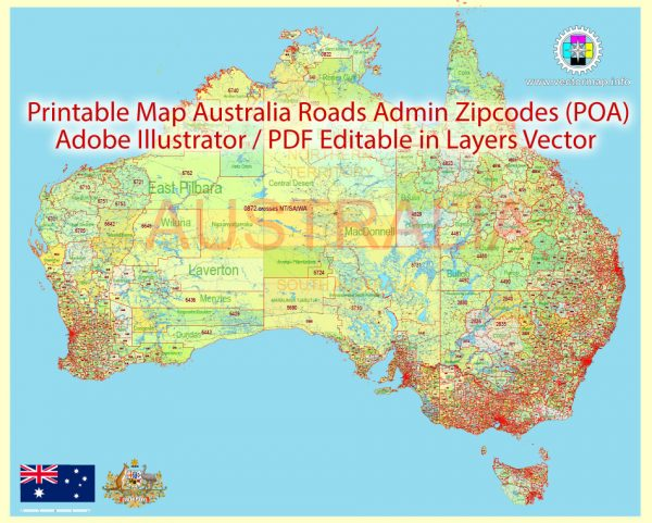 Printable Vector Map Australia, exact extra detailed Country Plan Roads Admin ZipCodes (POA) full editable Adobe Illustrator