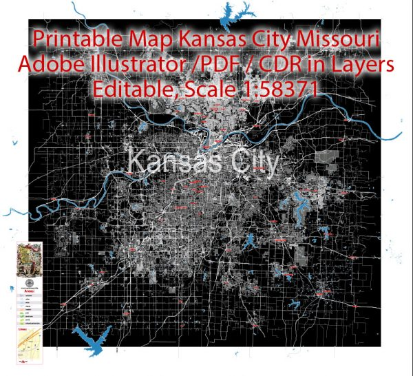 Map Kansas City Missouri US, exact vector City Plan scale 1:58371 BW full editable Adobe Illustrator Street Map