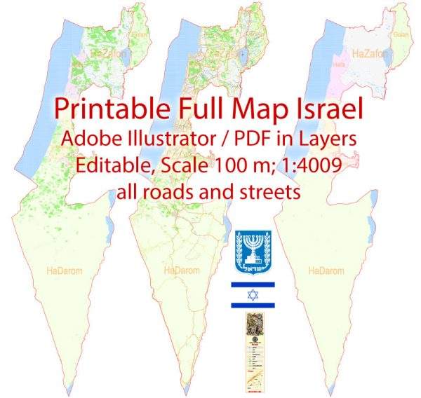 Printable Vector Map Israel English names, exact extra detailed Country City Plan scale 1:4009 full editable Adobe Illustrator Road Street Admin Map