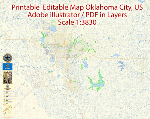 Oklahoma City Metro Area Oklahoma US Printable Vector Map, exact City Plan scale 1:3830 full editable Adobe Illustrator Street Map