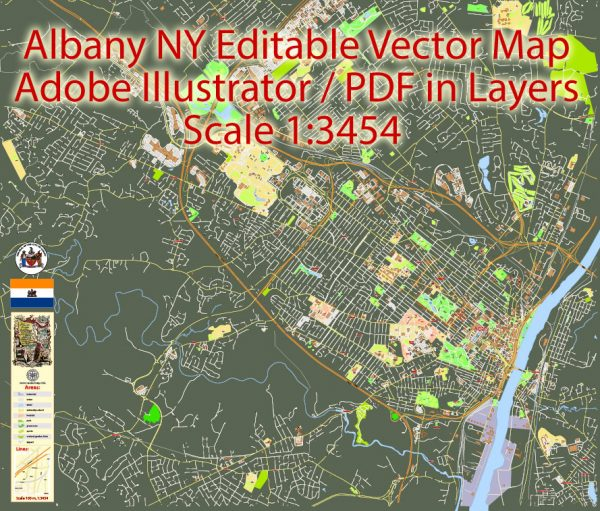 Albany NY Map Vector Printable US exact City Plan full editable in layers Adobe Illustrator Street Map