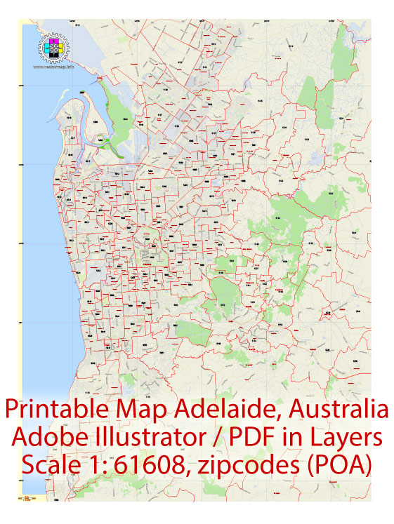 Printable Vector Map Adelaide, Australia, exact City Plan, full editable, Adobe Illustrator, scale 1:60608, scalable,  text format all names, all ZIPcodes areas (POA) Street Map