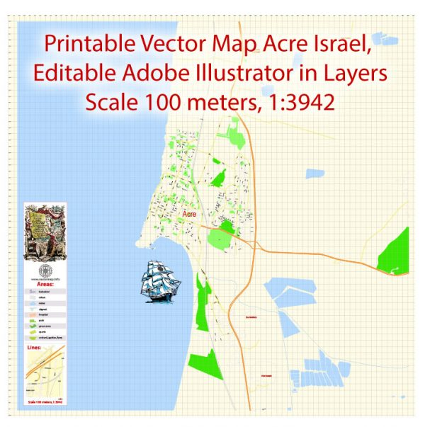 Printable Vector Map Acre Israel, exact detailed City Plan scale 1:3942, editable Layered Adobe Illustrator Street Map Eng