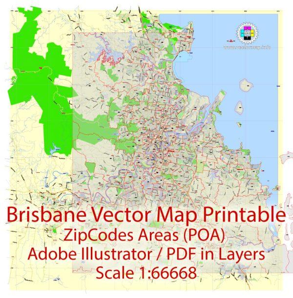 Brisbane Vector Map Australia exactCity Plan all ZIPcodes areas (POA) Street Map editable Adobe Illustrator