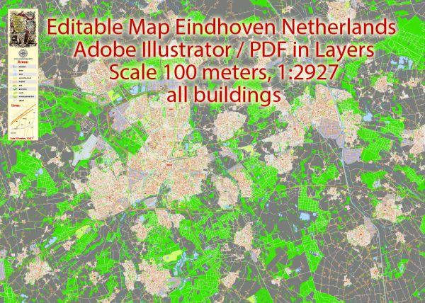 Map Eindhoven Netherlands Printable Vector, exact detailed City Plan, Scale 1:2927, editable Layered Adobe Illustrator Street Map