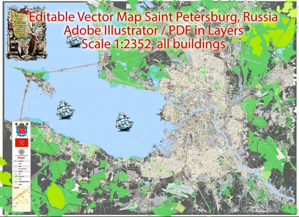 Printable Vector Map Saint Petersburg Russia, exact City Plan scale 1:2352 full editable Adobe Illustrator Street Map