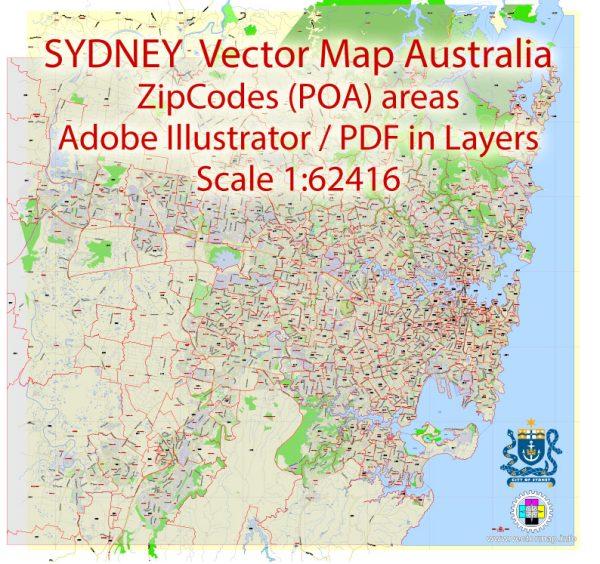 Sydney Map Vector Printable Australia exactCity Plan all ZIPcodes areas (POA) Street Map editable Adobe Illustrator