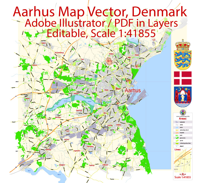 Aarhus VectorMap Denmark exact City Plan scale 1:41855 editable Adobe Illustrator Street Map in layers