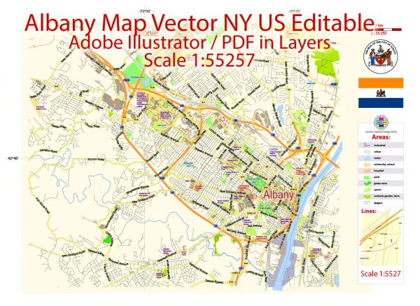 Albany Vector Map NY US, exact City Plan scale 1:55257 full editable Adobe Illustrator Street Map in layers