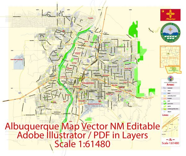 Albuquerque Map Vector NM US, exact City Plan scale 1:61480 full editable Adobe Illustrator Street Map in layers