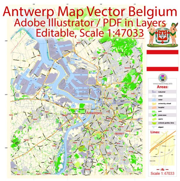Antwerp Map Vector Belgium exact City Plan scale 1:47033 editable Adobe Illustrator Street Map in layers