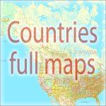 Full countries maps in vector formats Adobe Illustrator, PDF, CorelDraw