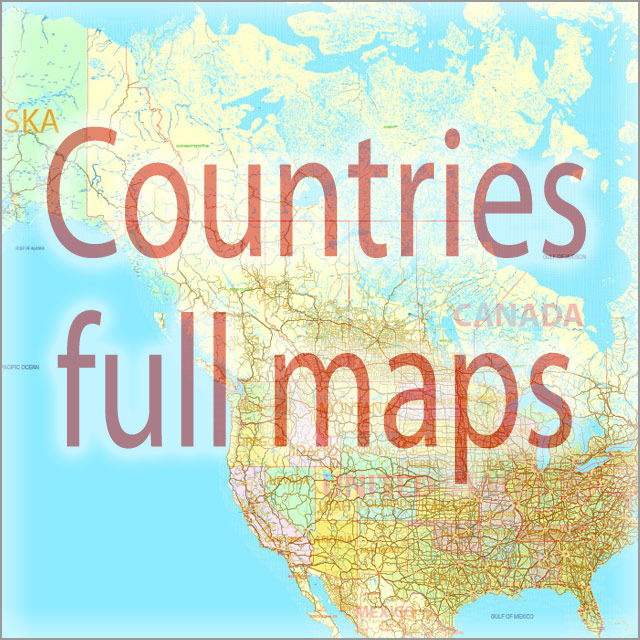 Full Countries Vector Maps in Adobe Illustrator, PDF and other vector formats