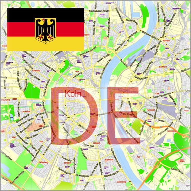 Germany City Maps Vector Urban Plans in Adobe Illustrator, PDF Editable