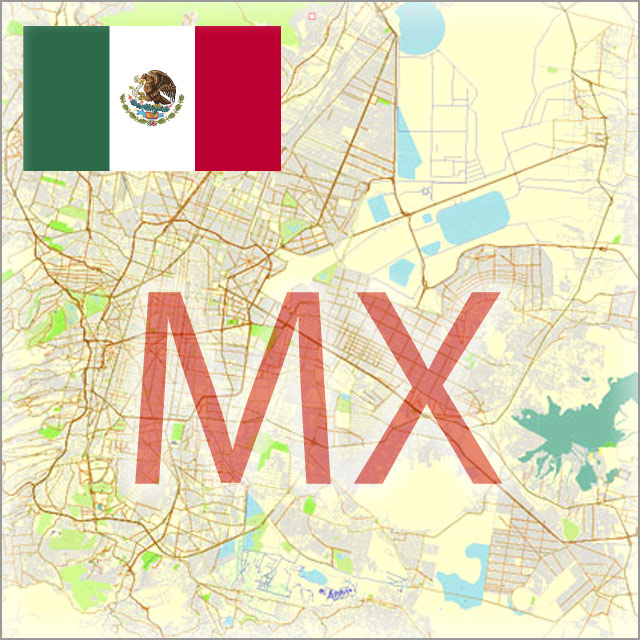 Mexico City Maps Vector Street Maps Country Maps and City Plans