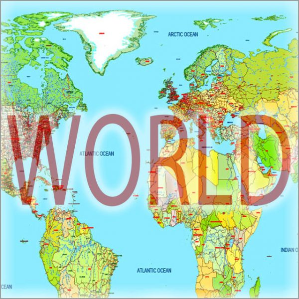 48 World and continents vector maps
