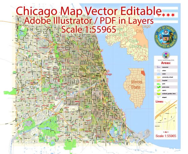 Chicago Map Illinois US, exact City Plan scale 1:55965 full editable Adobe Illustrator Street Map in layers