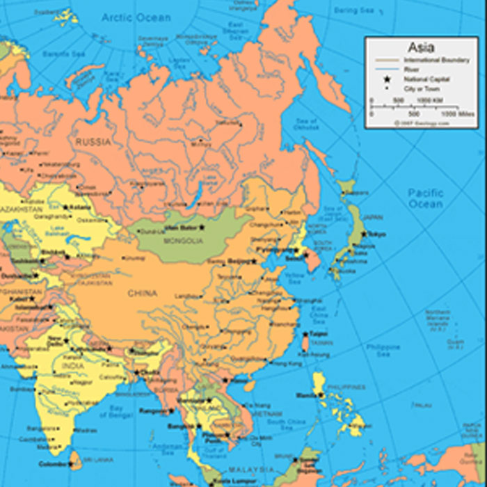 Asia countries and cities maps in Adobe Illustrator, PDF, CorelDraw