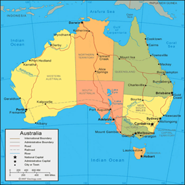 Australia and Oceania Cities, Countries maps Adobe Illustrator PDF CDR