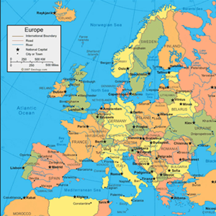European Countries and Cities maps in Adobe Illustrator, PDF, CorelDraw