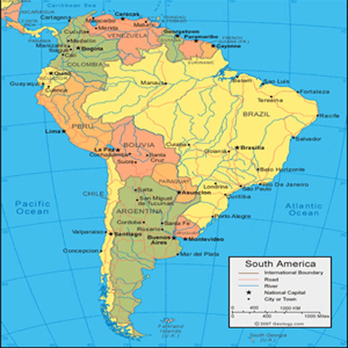 South America Maps Cities and Countries Adobe Illustrator, PDF, CDR
