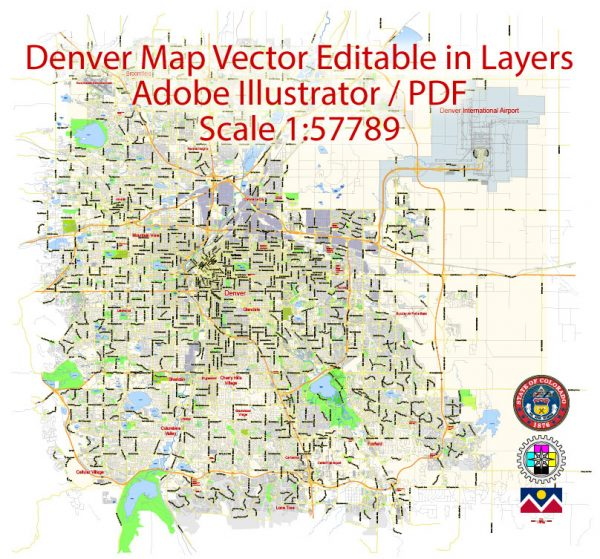 Denver Map Vector Colorado US exact City Plan scale 1:57789 full editable Adobe Illustrator Street Map