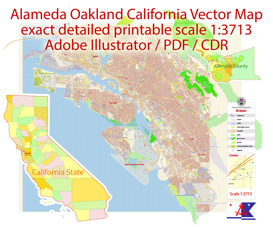 Alameda Oakland Map Vector California US extra detailed City Plan scale 1:3713 full editable Adobe Illustrator Street Map in layers with buildings