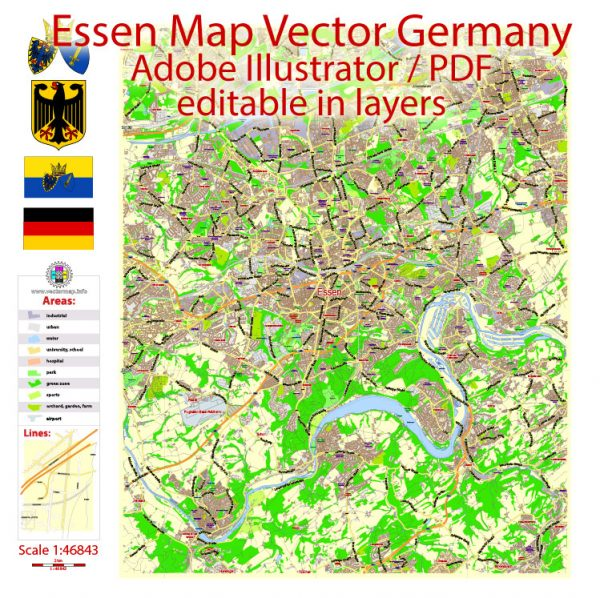 Essen Map Vector Germany exact City Plan scale 1:46843 editable Layered Adobe Illustrator Street Map