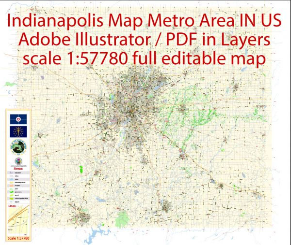 Indianapolis Map Metro Area Large exact City Plan scale 1:57780 full editable Adobe Illustrator Street Map in layers