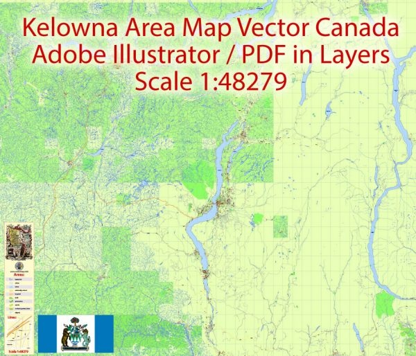 Kelowna Map Vector Large Area, Canada Exact City Plan Road Map Adobe Illustrator Scale 1:48279