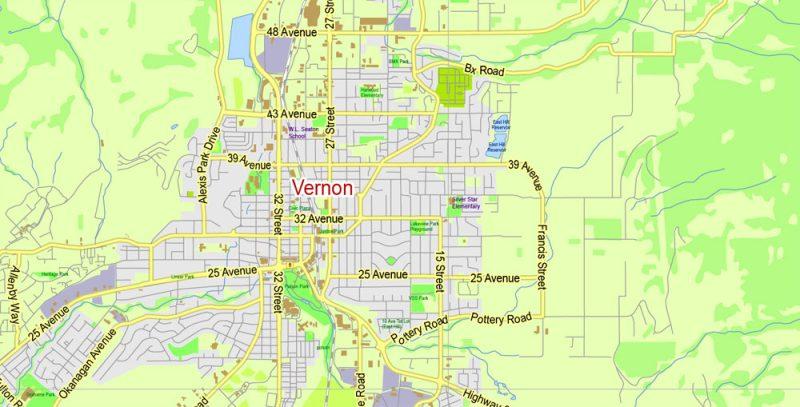 Kelowna Map Vector Large Area, Canada Exact City Plan Road Map Adobe Illustrator Scale 1:48279