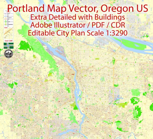 Portland Map Vector Oregon, exact City Plan scale 1:3290 full editable Adobe Illustrator Street Map in layers