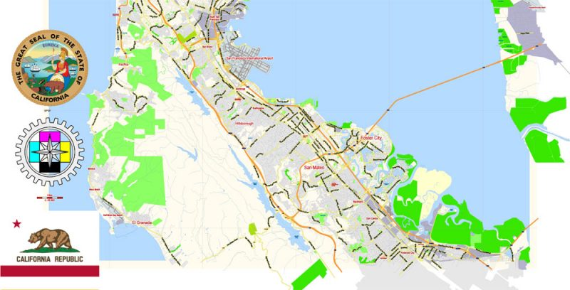 San Francisco Map + Oakland Map Vector California US exact City Plan scale 1:59463 full editable Adobe Illustrator Street Map