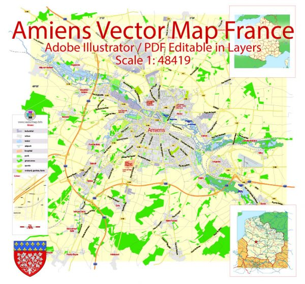 Amiens Vector Map France exact City Plan scale 1:48419 editable Adobe Illustrator Street Map in layers
