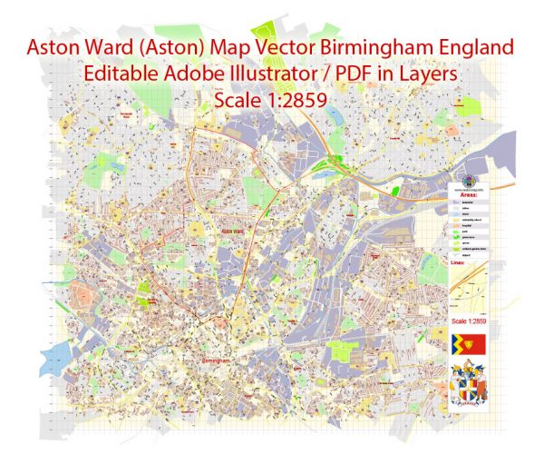 Aston Ward (Aston) Vector Map Birmingham England exact extra detailed City Plan editable Adobe Illustrator Street Map in layers