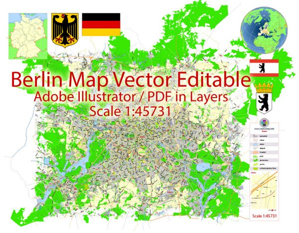Berlin Map Vector Germany Printable exact City Plan scale 1:45731 editable Adobe Illustrator Street Map in layers