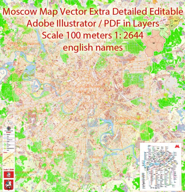 Printable Vector Map Moscow Russia English names exact extra detailed City Plan editable Adobe Illustrator Street Map in layers + admin areas + Subway Map 51 Mb ZIP