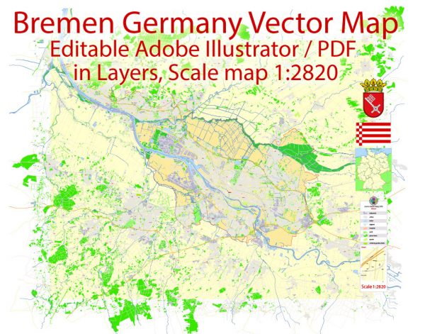 Printable Vector Map Bremen Germany exact Detailed City Plan scale 1:2820 editable Adobe Illustrator Street Map in layers 17 Mb ZIP