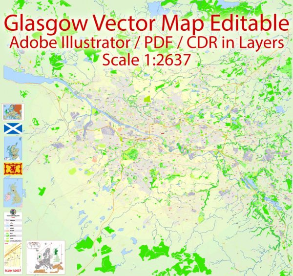 Glasgow Map Vector Scotland Printable exact Detailed City Plan scale 1:2637 editable Adobe Illustrator Street Map in layers