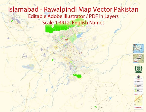 Printable Vector Map of Islamabad + Rawalpindi Pakistan EN detailed City Plan scale 1:3912 editable Adobe Illustrator Street Map in layers