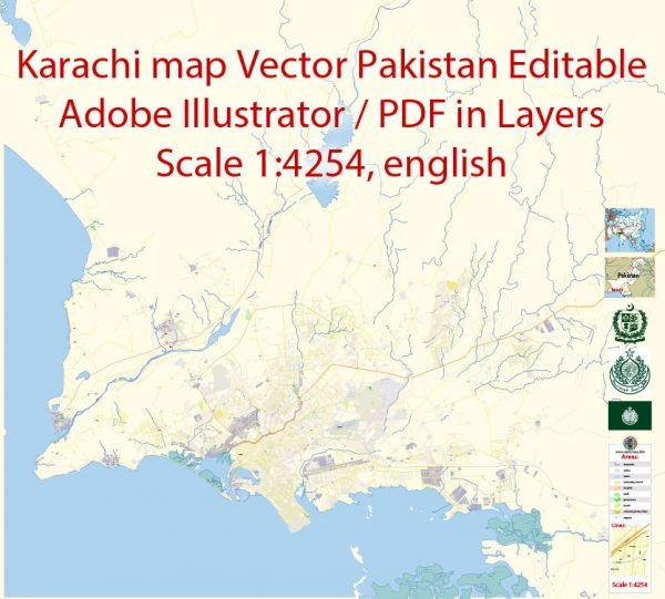 Printable Vector Map of Karachi Pakistan EN detailed City Plan scale 1:4254 full editable Adobe Illustrator Street Map in layers
